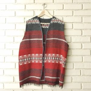 Vintage Woven Blanket Vest Hand Woven Southwestern